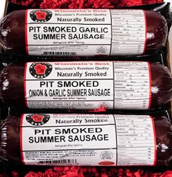 Wisconsin's Best 3-Piece Pit Smoked Summer Sausages Sampler Gift with Garlic, Original and ...