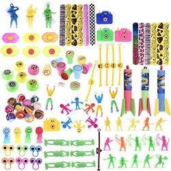 100 PCS Fun Little Toys Accessory Assortment Party Favor Boxes Including Slap Bracelets, Mini Ca ...
