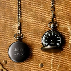 Personalized Midnight Pocket Watch by Exclusively Weddings