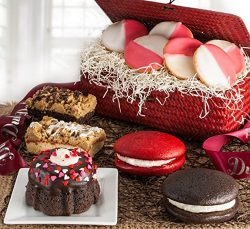Dulcet Valentine's Day Gift Basket – Red Wicker Box Filled with A Generous Assortment of Freshly ...