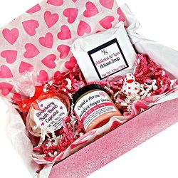 Valentine's Day Bath and Body Gift Set for Women, Artisan Soap Bar (1) Sugar Scrub (1) Bat ...