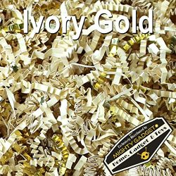 Mighty Gadget (R) 1/2 LB Ivory Gold Metallic Mix Crinkle Cut Paper Shred Filler for Gift Wrappin ...