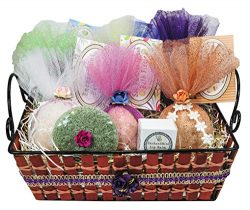 Premium Bath Bomb Gift Set with Green Tea Konjac Sponge & Lip Balm. 6 Extra-Large Luxurious  ...