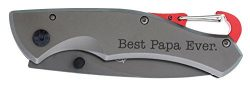 Father's Day Gift for Papa Best Papa Ever Laser Engraved Satin Gunmetal Folding Carabiner  ...