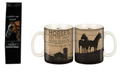 Horses are the Only Good Reason to Wake Up Early 2-Sided Mug with Saddle Up German Chocolate Cak ...