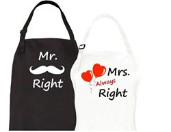 Couples Aprons – Mr. Right & Mrs. Always Right Aprons With Pocket For Wedding Engageme ...
