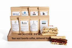 Bean Box Gourmet Coffee and Biscotti Deluxe Gift Box – (8 handpicked roasts + 8 artisan bi ...