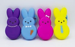 Peeps Vinyl Bunny Toys for Dogs, Soft and Squeaky, Mini, 4 Count