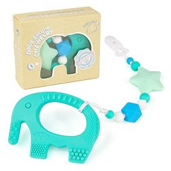 Teething Pain Relief Toy and Universal Pacifier Clip for Stylish Little Girl or Boy – Turq ...