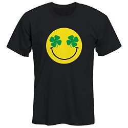 FSD Cute Emoji Smiley Face With Lucky Clover Eyes ST Patricks Day Tshirt For Boys and Girls