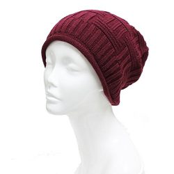 Accessory Necessary Slouchy Beanie Cap Solid Color Wine Fall Winter Outdoor Cap Basket Knit Fall