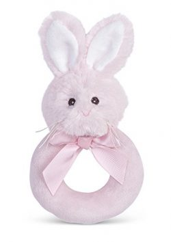 Bearington Baby Lil' Bunny Plush Ring Rattle (Pink) 5.5″