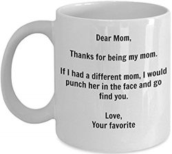 Funny Mom Gift – I'd Punch Another Mom In The Face Coffee Mug – Gag Gift Cup F ...