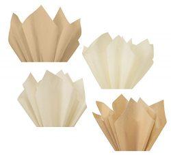 Beige Sand Tan Light Tan Linen Assorted Mixed Color Multi-Pack Tissue Paper for Flower Pom Poms  ...