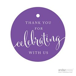 Andaz Press Circle Gift Tags, Thank You For Celebrating With Us, Purple, 24-Pack, Round Thanks T ...