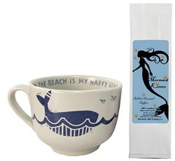 The Beach is My Happy Place Whale Fish Mug with Mermaid Kisses Salted Caramel Coffee Gift Set Bu ...