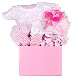 A Little Love Baby Girl Gift Basket with Cotton Onesie, Swaddling Blanket, Hat, Socks, Non-Scrat ...