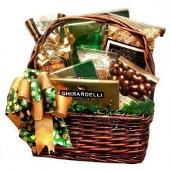 St. Patrick's Day Gift Basket with Coffee and Ghirardelli Chocolates