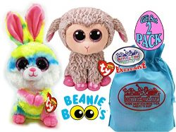 TY Beanie Boos 2018 Easter Collection Lollipop (Multi-color Bunny) & Dixie (Grey Lamb) Gift  ...
