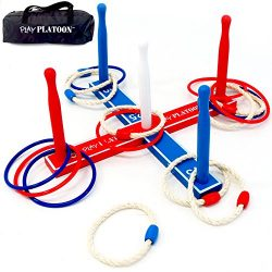 Premium Ring Toss Game Set – Includes 8 Rope & 8 Plastic Rings – Improves Hand-E ...