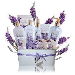 Luxury Lavender Gift Baskets for Women – 11 pcs Premium spa gift set with essential oils f ...