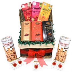 Valentine's Day Chocolate Variety Gift Basket – Truffles, Wafers, Belgian Chocolove  ...