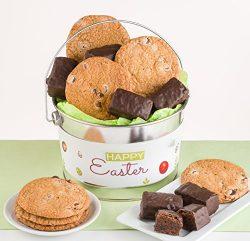 Happy Easter Gift Basket filled with Thin & Crispy Chocolate Chip Cookies and Chocolate Cove ...