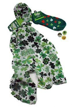 St Patricks Day for Women – 6 Pc St Patricks Day Accessories Set – Scarf, Socks & ...