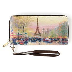 Digital Print Faux Leather Wallet Purse (Autumn in Paris)
