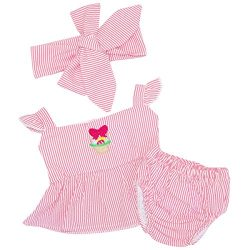 Unique Baby Girls Searsucker Easter Basket Blouse Bloomer Layette (12 Months)