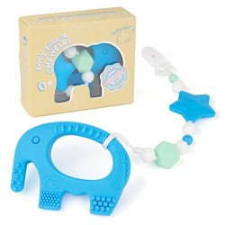 Teething Pain Relief Toy and Universal Pacifier Clip for Stylish Little Girl or Boy – Blue ...