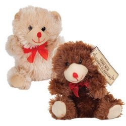 Super Cute Valentines Day Chocolate-Scented Plush Sitting Bears, 7″ (Set of 2)
