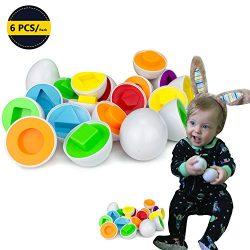6 pcs Smart Easter Egg Montessori Toys for Kids Baby Learning Color and Shape Preschool Motor Sk ...