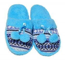 Best Seller Terry Teal Colorful Pompom Fancy Wide Flat Foot Fleece Lined Slip On Indoor House Ho ...