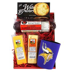 Vikings Snacker Gift Basket – features Smoked Summer Sausages, Cheeses, Crackers and a Vik ...