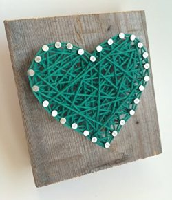 Sweet and small rustic Kelly green string art wooden heart block for Father's Day –  ...