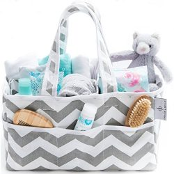 [Strong Washable Baby Diaper Caddy] 100% Cotton Canvas – Portable Large Gray and White Che ...