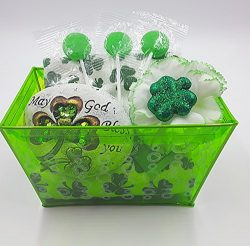 St. Patrick's Day Gift Basket , Set of 2 Towels, 3 Flat Candy Pops, 1 Decorative Stone, 1  ...