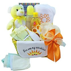 Art of Appreciation Gift Baskets You Are My Sunshine Baby Gift Basket, Neutral Boy or Girl, Yell ...