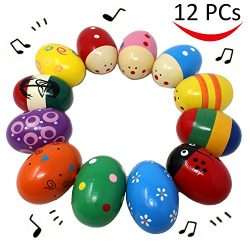 12 Pieces Percussion Musical 3'' Easter Maracas Egg Shakers for Basket Stuffers Fillers, Spring  ...