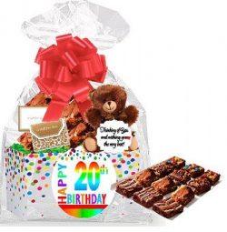20th Birthday / Anniversary Gourmet Food Gift Basket Chocolate Brownie Variety Gift Pack Box (In ...