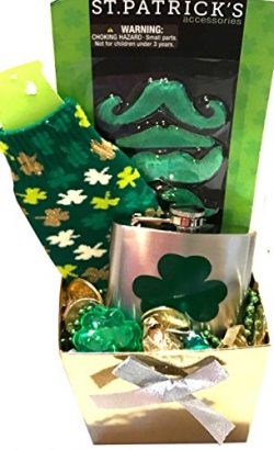 St Patricks Day Beer Mug Or Wine Glass Gift Set with Lucky Irish Snacks For Your Mischievous Lep ...