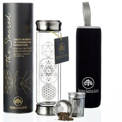The NEW Sacred Glass Tumbler with Infuser + Strainer for Loose Leaf or Ice Tea. Improved V2 Desi ...