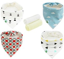 Baby Bandana Drool Bibs with 1 FREE Washcloth, Unisex Bibs with Snaps – Best for Babies Dr ...