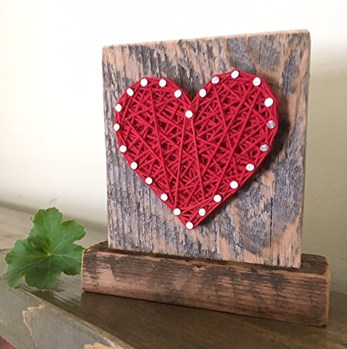 Sweet & small freestanding wooden red string art heart sign. Perfect for Easter basket gifts ...