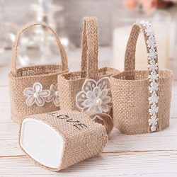 4Pcs Jute Burlap Lace Candy Bags Small Gifts Pouch Hand-held Basket For Wedding Ceremony Home Ga ...