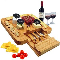 Bamboo Cheese Board & Cutlery Set with Slide-Out Drawer, 4 Piece Stainless Steel Knife, Char ...