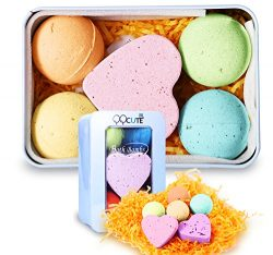 QQCute Bath Bomb Gift Set, All Natural Essential Oil Lush Spa Fizzies for Dry Skin,Best Gift for ...