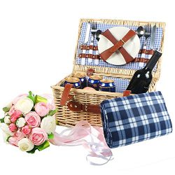 Woworld 2 Person Traditional Wicker Picnic Basket Hamper with Cutlery,Plates,Wine Glasses,Free W ...