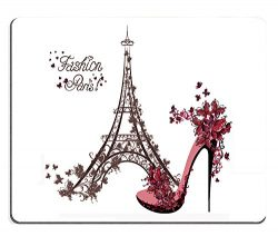 Wknoon Mouse Pad Fashion Paris Abtract Eiffel Tower Sketch Awesome Floral High Heels with Flower ...